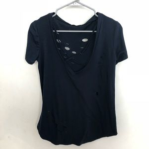 UGET distressed navy top size M